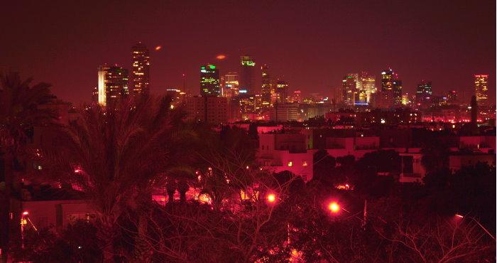 Jaffa at night - Rabih Boukhary neighborhood with a view of Tel Aviv.